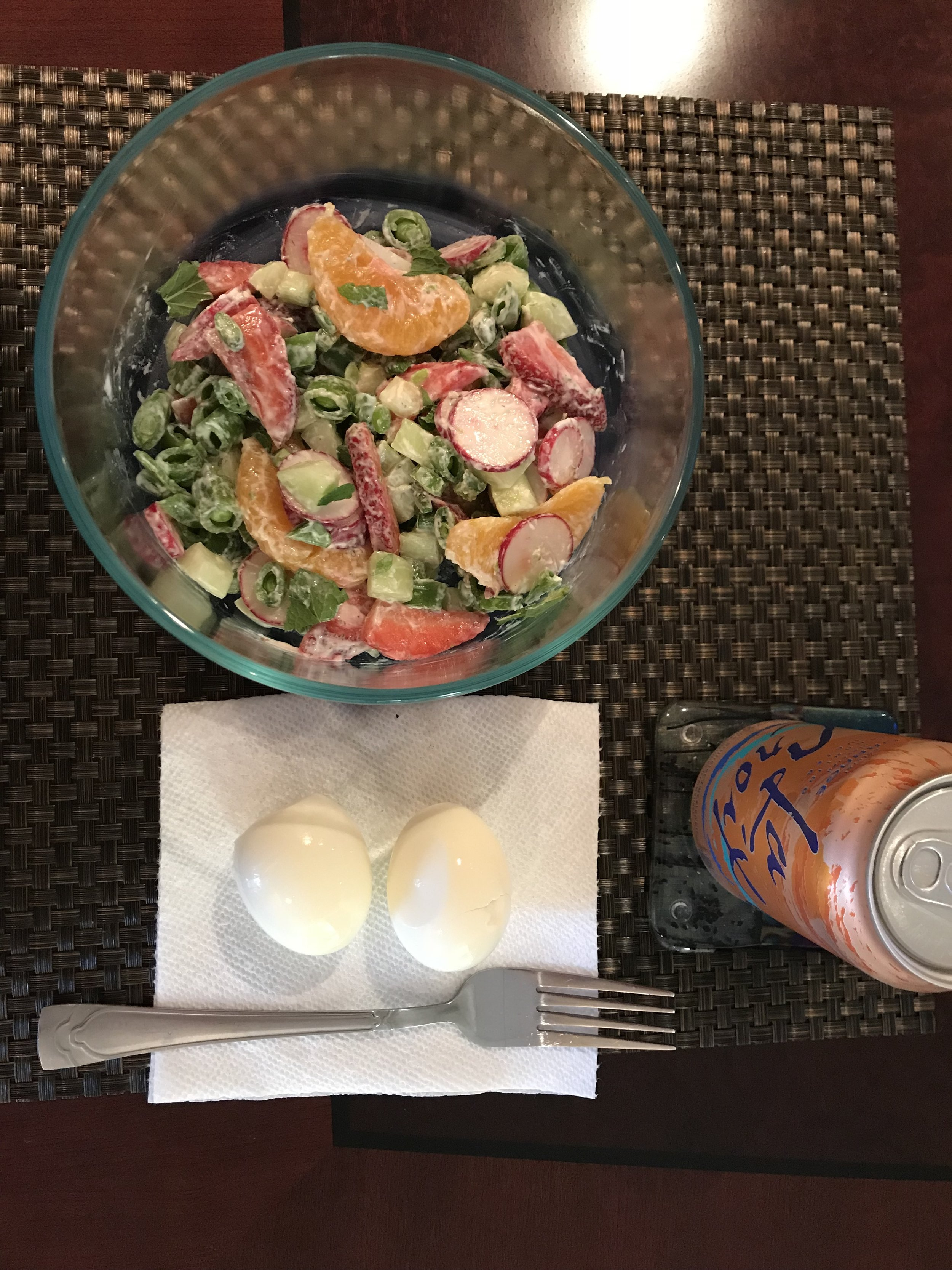 LUNCH - Fixate Spring Salad, 2 hard boiled Eggs, and Le Croix.