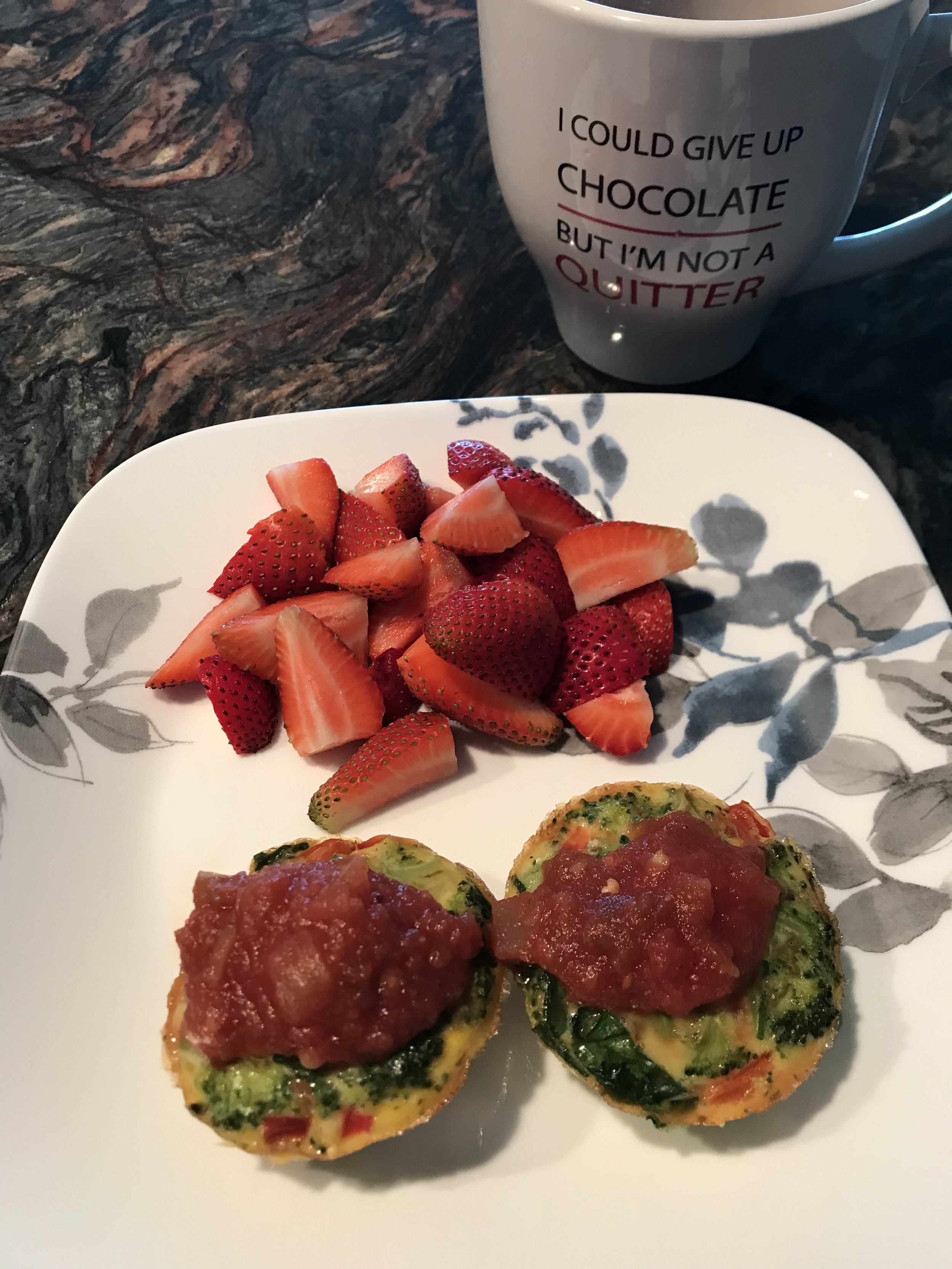 BREAKFAST - Fixate Vegetable Egg Cups with Salsa and a side of Strawberries.