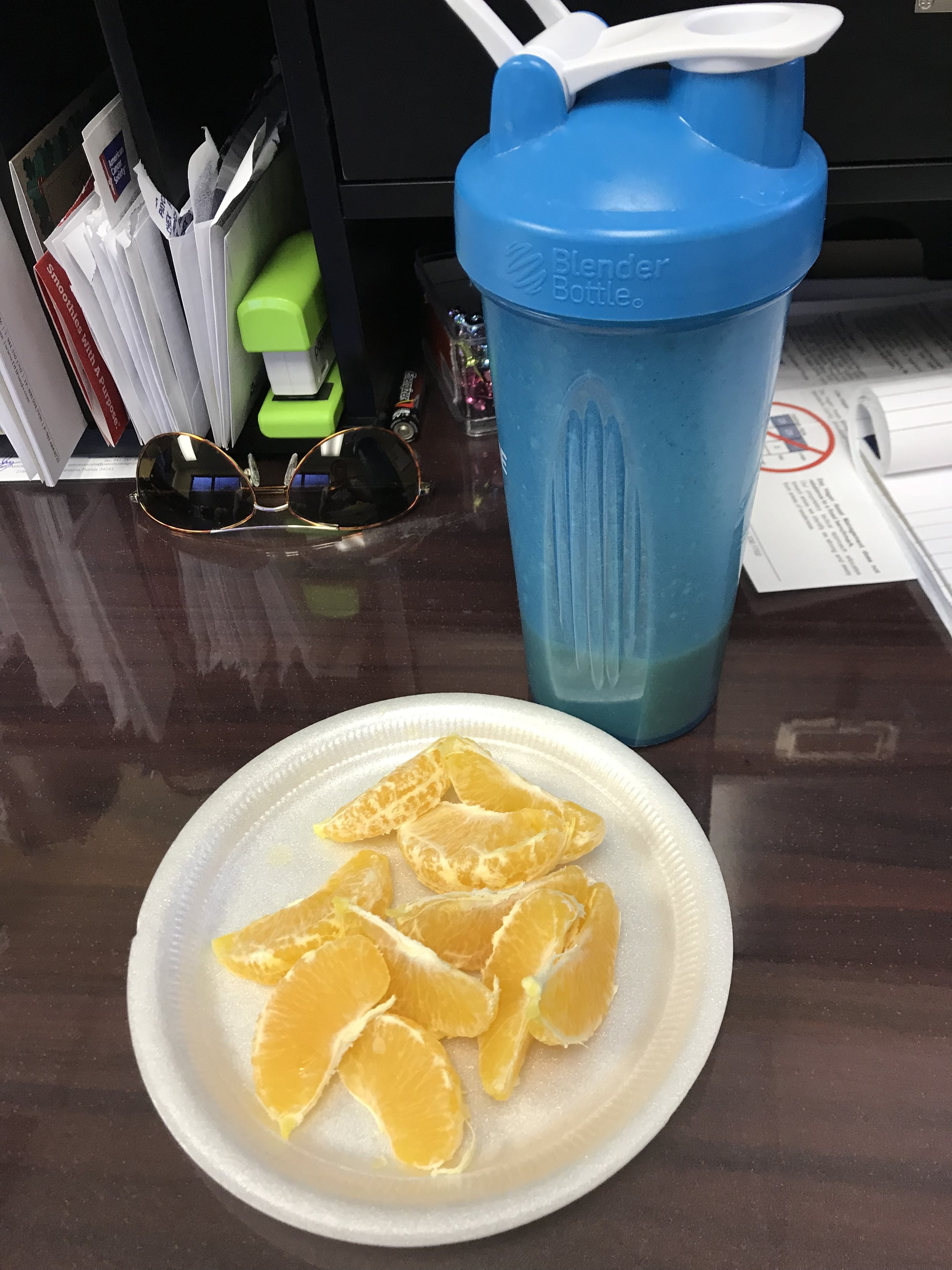 MID-AFTERNOON SNACK - Vanilla Shakeology and an Orange.