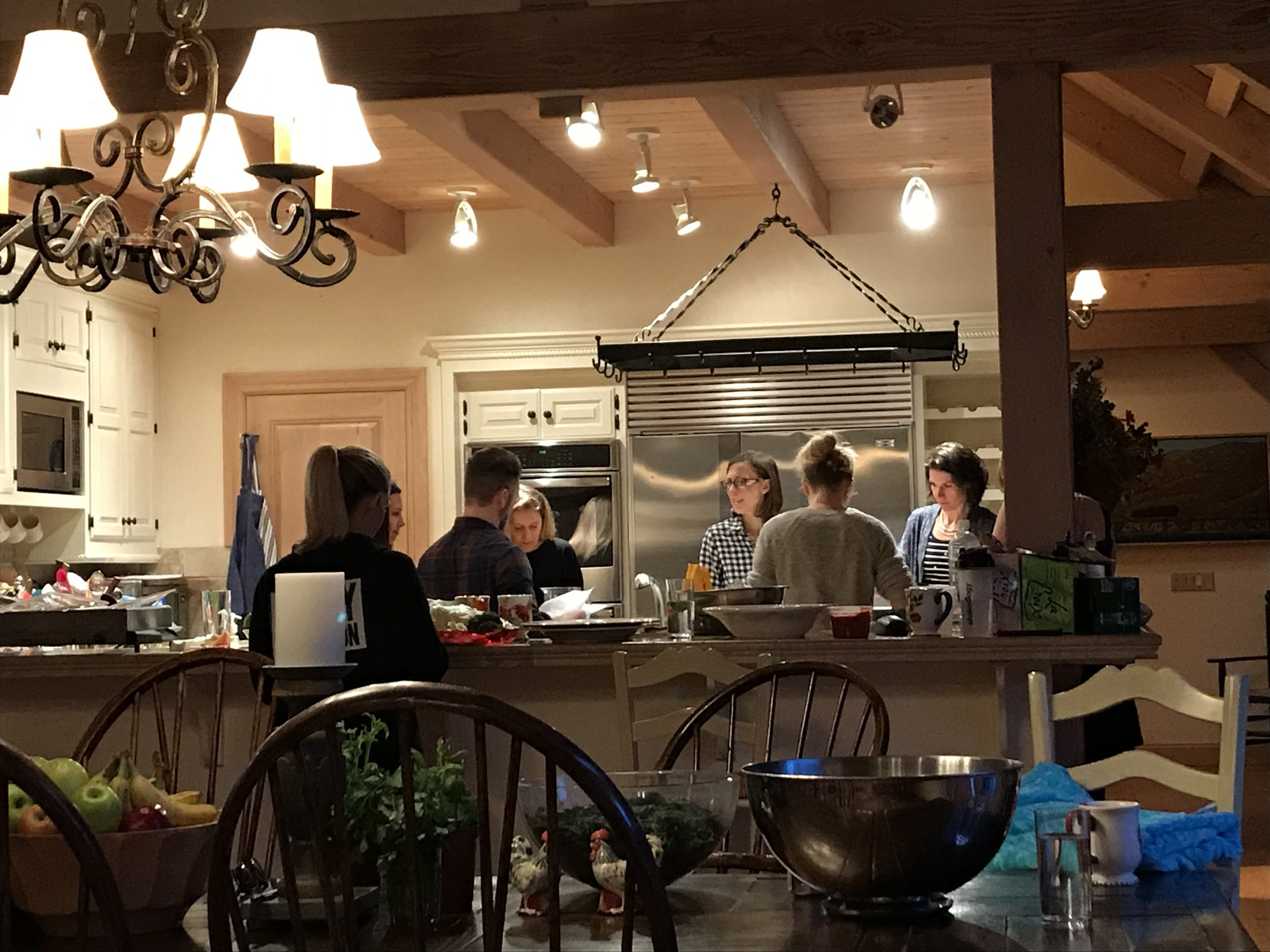 Bobby and others preparing dinner.