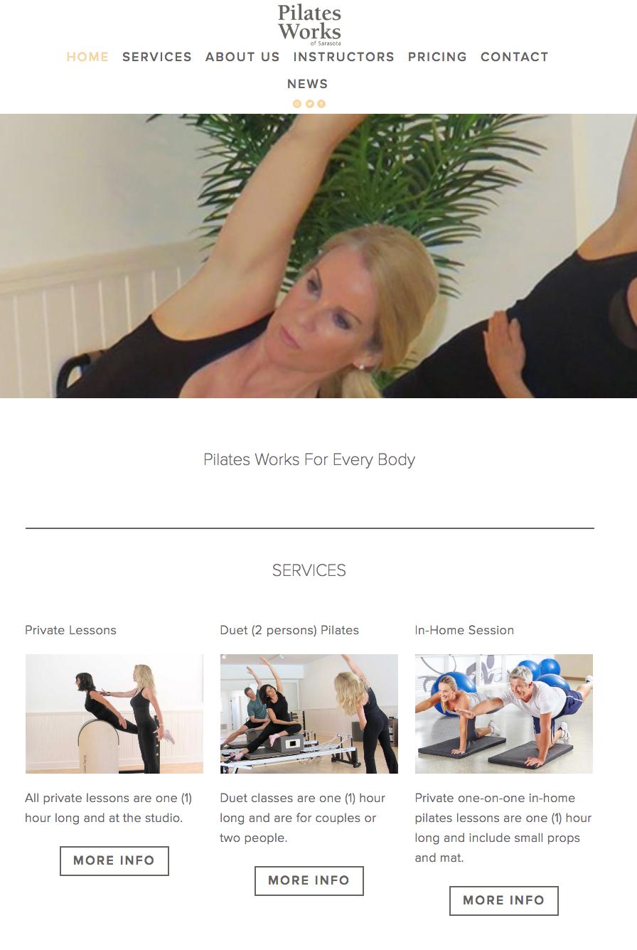 Pilates Works of Sarasota Website Project