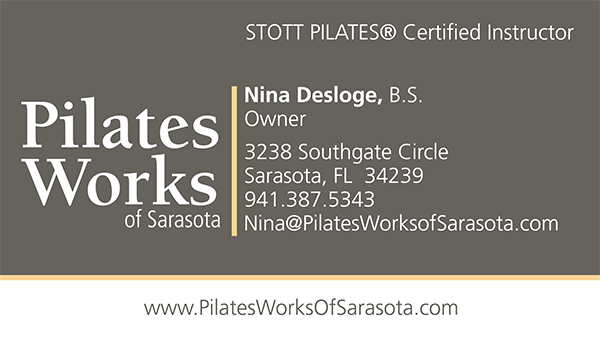 Front side of the Pilates Works of Sarasota Business Card Project
