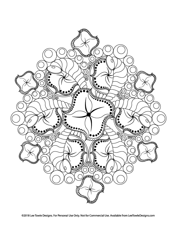 Abstract Flower Mandala Advanced Coloring Page For Adults. This free coloring page is available for instant download at LeeTowleDesigns.com.