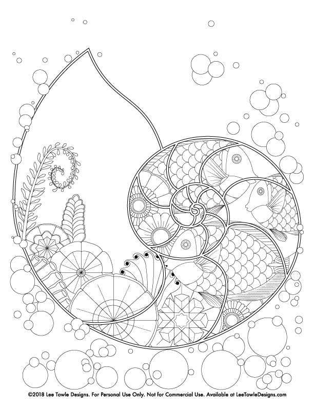 Fantasy Nautilus Under Water Scene Coloring Page For Adults. Free coloring page available for instant download at LeeTowleDesigns.com