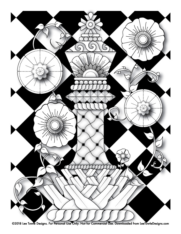 Fantasy King Chess Piece with Flowers Coloring Page For Adults. This free coloring page is available for instant download at LeeTowleDesigns.com.