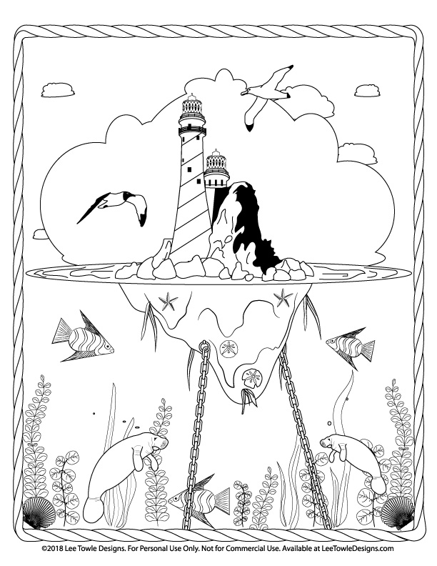 Fantasy Floating Lighthouse Island and Underwater Scene with Manatees, Sea Plants, and Fish Coloring Page For Adults. This free coloring page is available for instant download at LeeTowleDesigns.com.