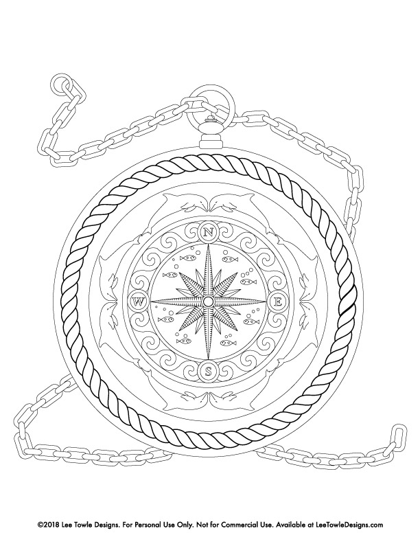 Fantasy Compass illustrated with dolphins, fish, star, and rope Coloring Page For Adults. This free coloring page is available for instant download at LeeTowleDesigns.com.