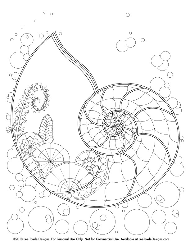 Fantasy style Nautilus Shell and Ocean Plants Coloring Page For Adults. This free coloring page is available for instant download at LeeTowleDesigns.com.
