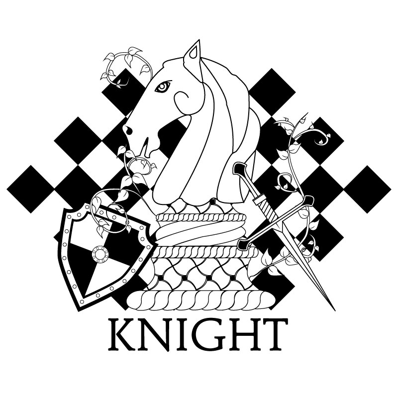 Black and White Knight Chess Piece Illustration available to print on a variety of print, wall art,and home decor items through Fine Art America.