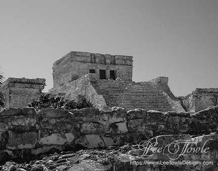 Black and white nature photography of Tulum Mexico Mayan Ruins. This nature photography is available on a variety of print wall art and home decor items through Fine Art America.