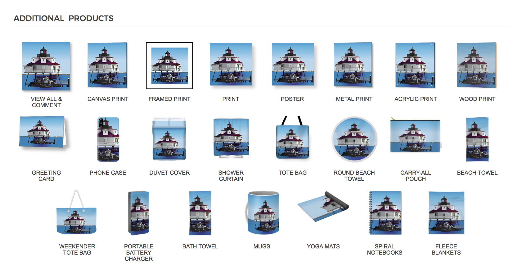 This fun collection is a digital painting of Thomas Point Shoal Lighthouse. This collection is available on a variety of wall art and home decor options, such as canvas prints, acrylic print, show curtains, duvet cover, greeting card, phone case, carry-all pouch, beach towels, yoga mat, tote bag, coffee mugs, spiral notebook, and fleece blanket.