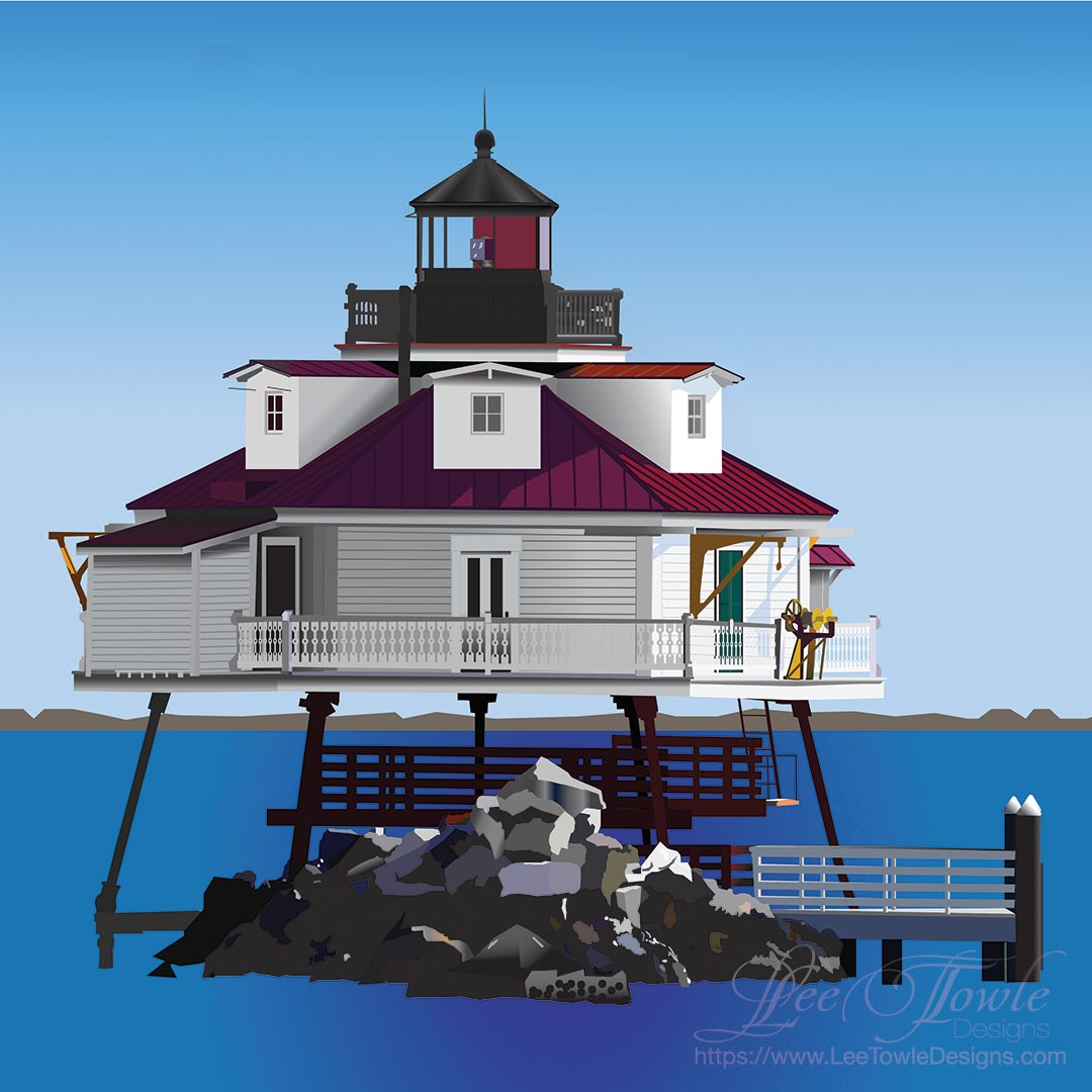 Digital painting of Thomas Point Shoal Lighthouse by Lee Towle. Prints and home decor items available at FineArtAmerica.com.