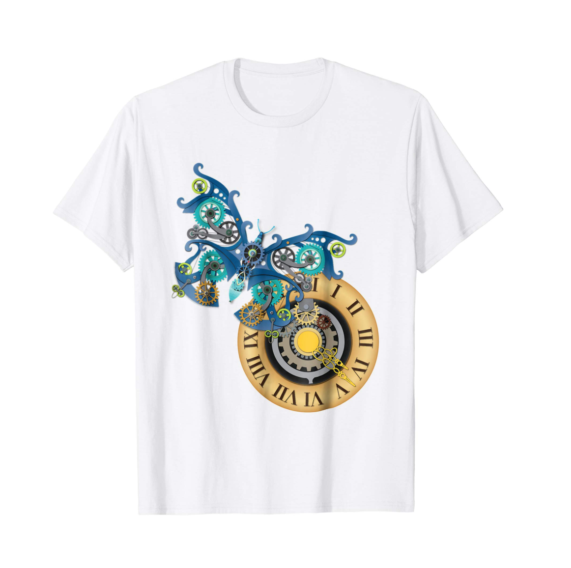 Illustrated Steampunk Butterfly and Clock Graphic T-Shirt, available on Amazon.