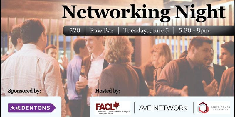 YWiB x FACL x AVE Network    Add to Calendar   We invite you to join us for a casual, networking night for the young professionals to celebrate the beginning of the summer, meet some great new people in the city and grow your network. This event is co-hosted by three non-profit organization groups. All are welcome to attend. Refreshments will be provided and your ticket purchase includes one drink ticket. We hope to see you there!      Tickets