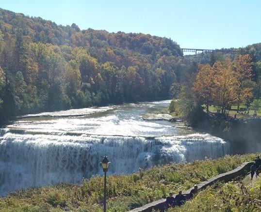 Autumn colors surrounding Letchworth State Park lower falls