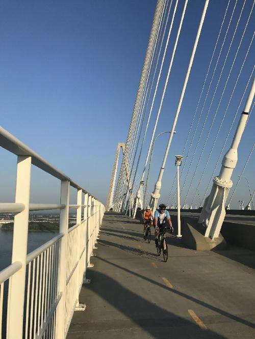 Bike riders on Ravenel Bridge