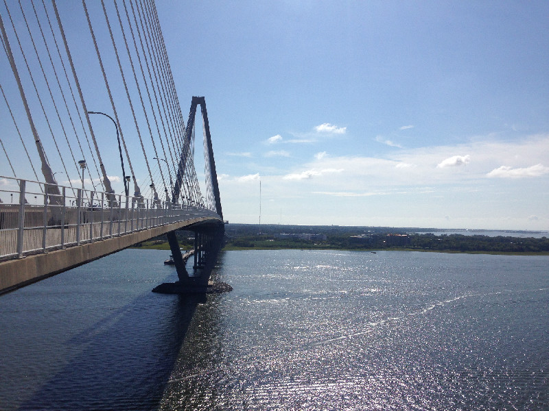 View of Ravenel Bridge from the bridge looking toward Mt Pleasant, SC