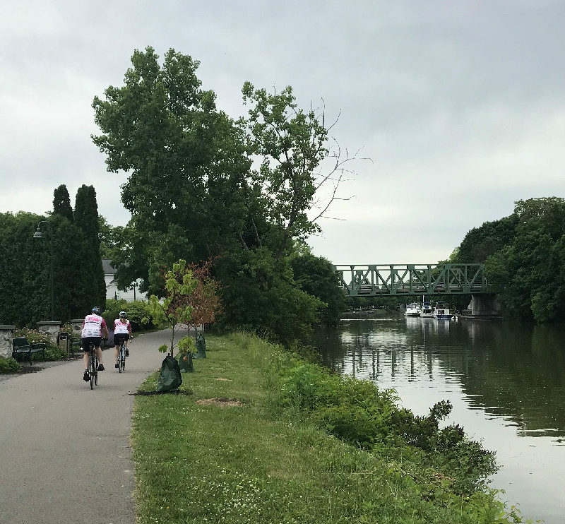 Erie Canal path bikers, Pittsford, NY