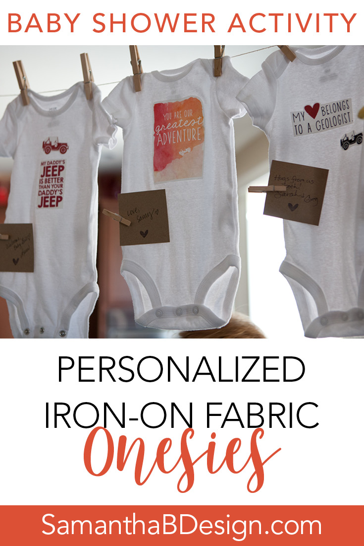 Iron On Transfer Baby Shower Activity Onesies