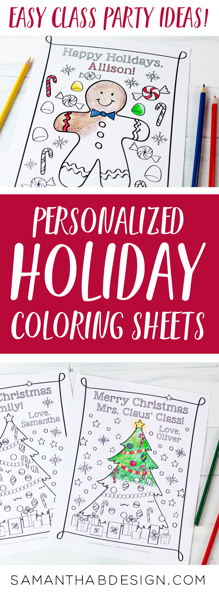 Christmas Coloring Sheets Class Party Ideas