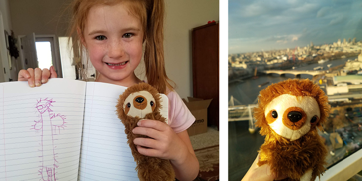 Left: Our daughter sharing her drawing of Mose; Right: Mose posing on the London Eye