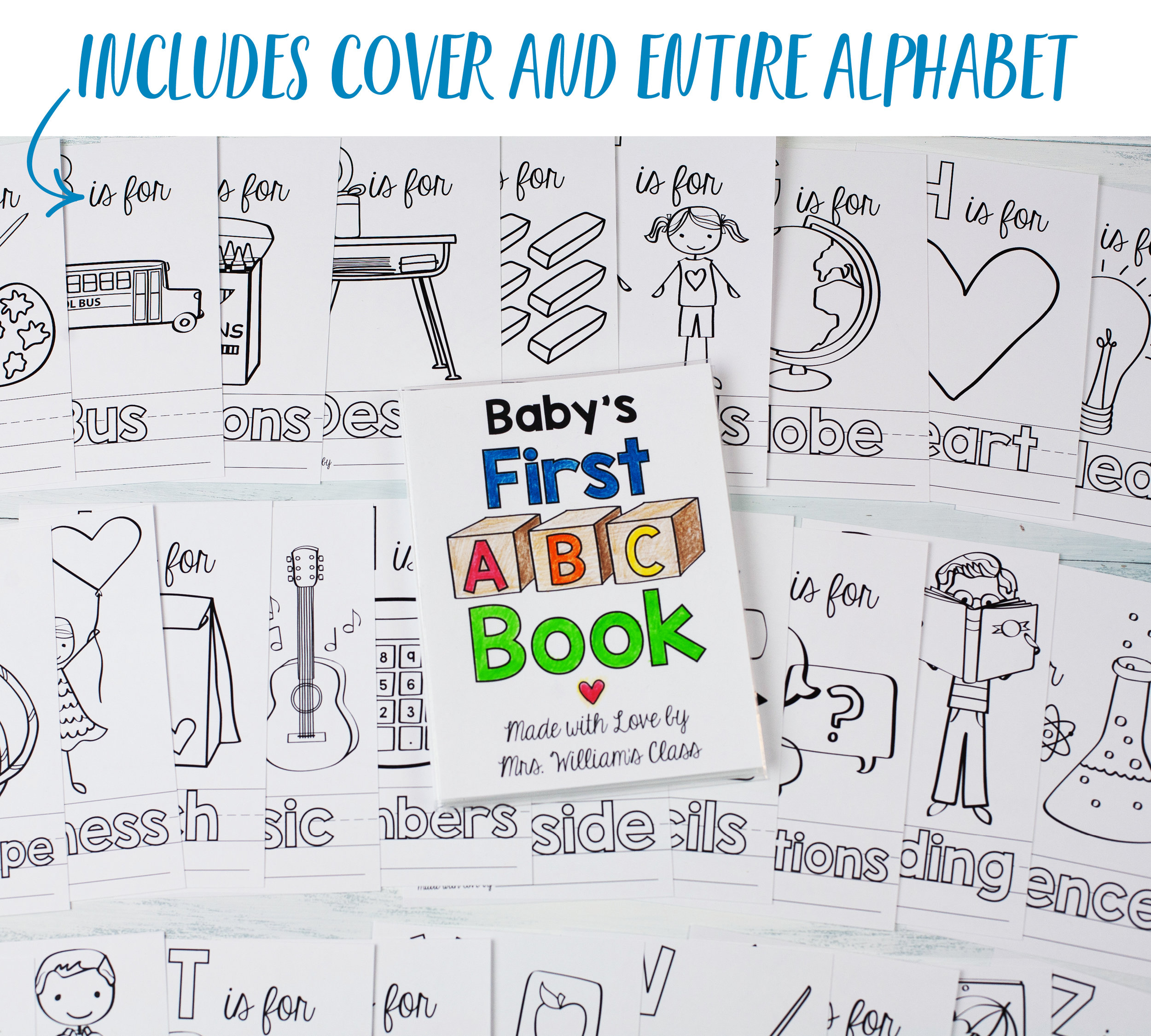 picture regarding Alphabet Book Printable titled Faculty Concept ABC E-book Printable PDF Obtain 4x6\
