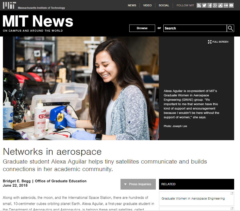 MIT's Office of Graduate Education wrote about Alexa Aguilar, the co-president of MIT's Graduate Women in Aerospace Engineering (GWAE).  Read More Here >>