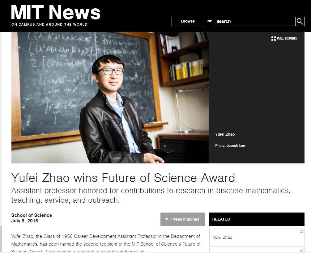 MIT Professor Yufei Zhao wins the FUTURE OF SCIENCE Award.  Read More Here >>