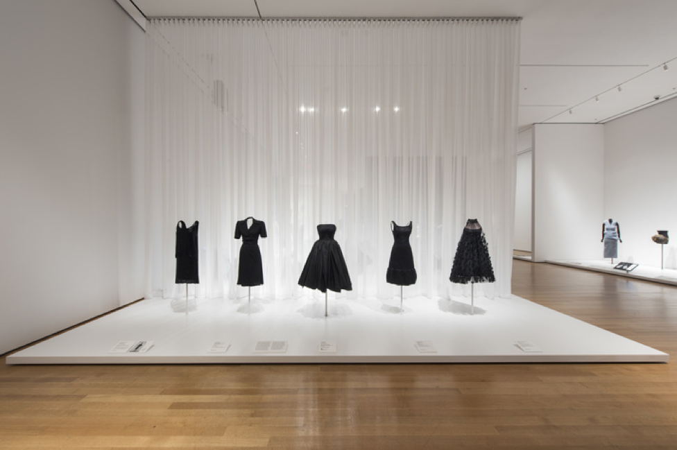 Evolution of the Little Black Dress from (left to right) Coco Chanel (1925-1927), Charles Creed (1942), Christian Dior (1950), Hubert de Givenchy (1968), Arnold Scaasi (1966).  Photo from MoMA