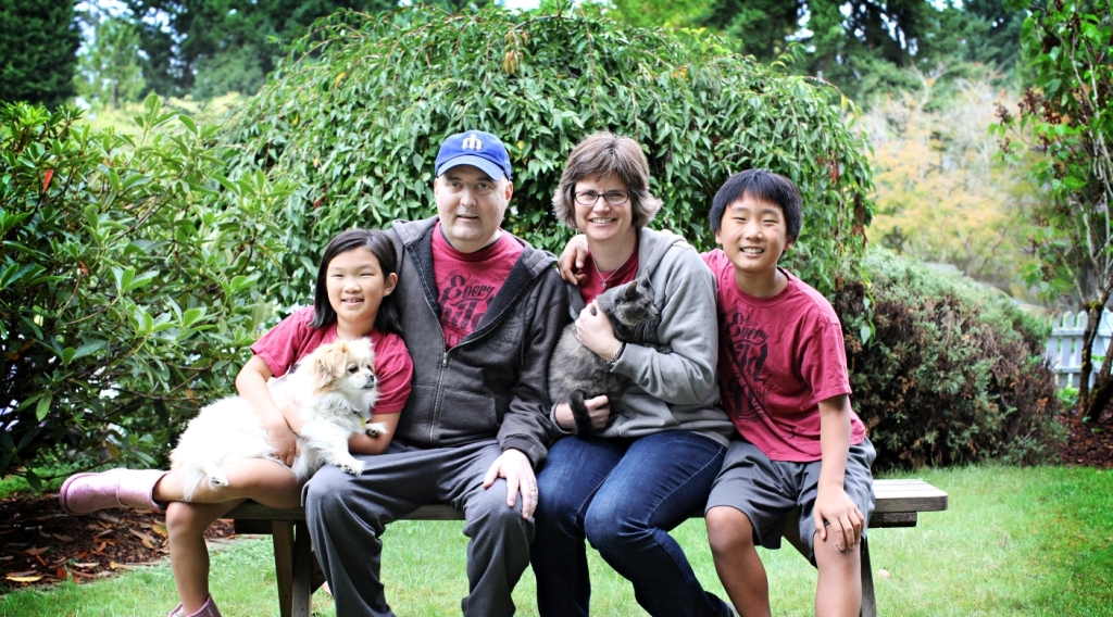 My family in september 2015. Megan (then age 8); Daisy; my late husband dennis, shortly before he went on hospice; me; pickles; peter (then age 11). (Photo courtesy Rebecca Ort Photography)