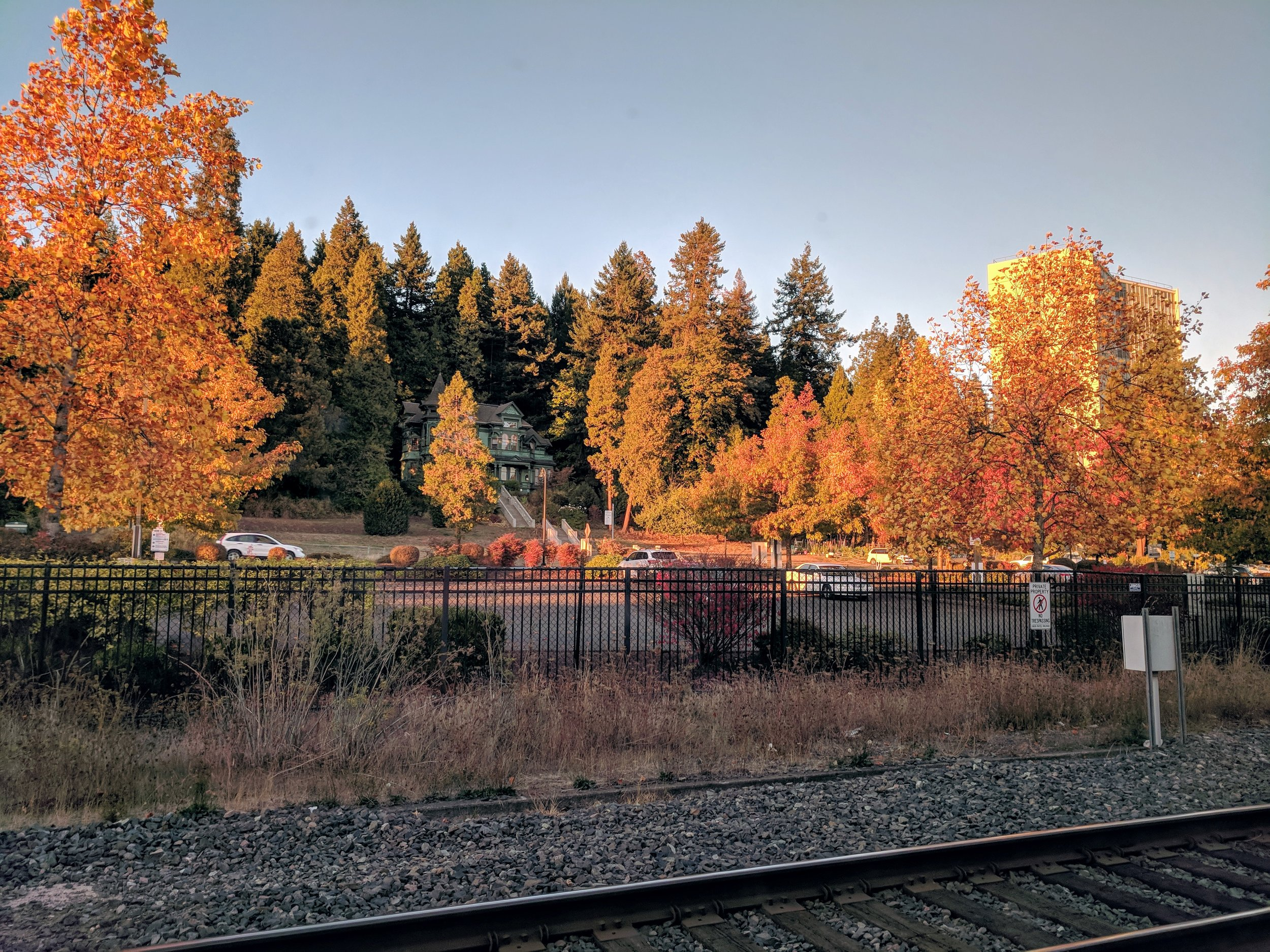 The view from the Amtrak station in Eugene, OR, facing west.