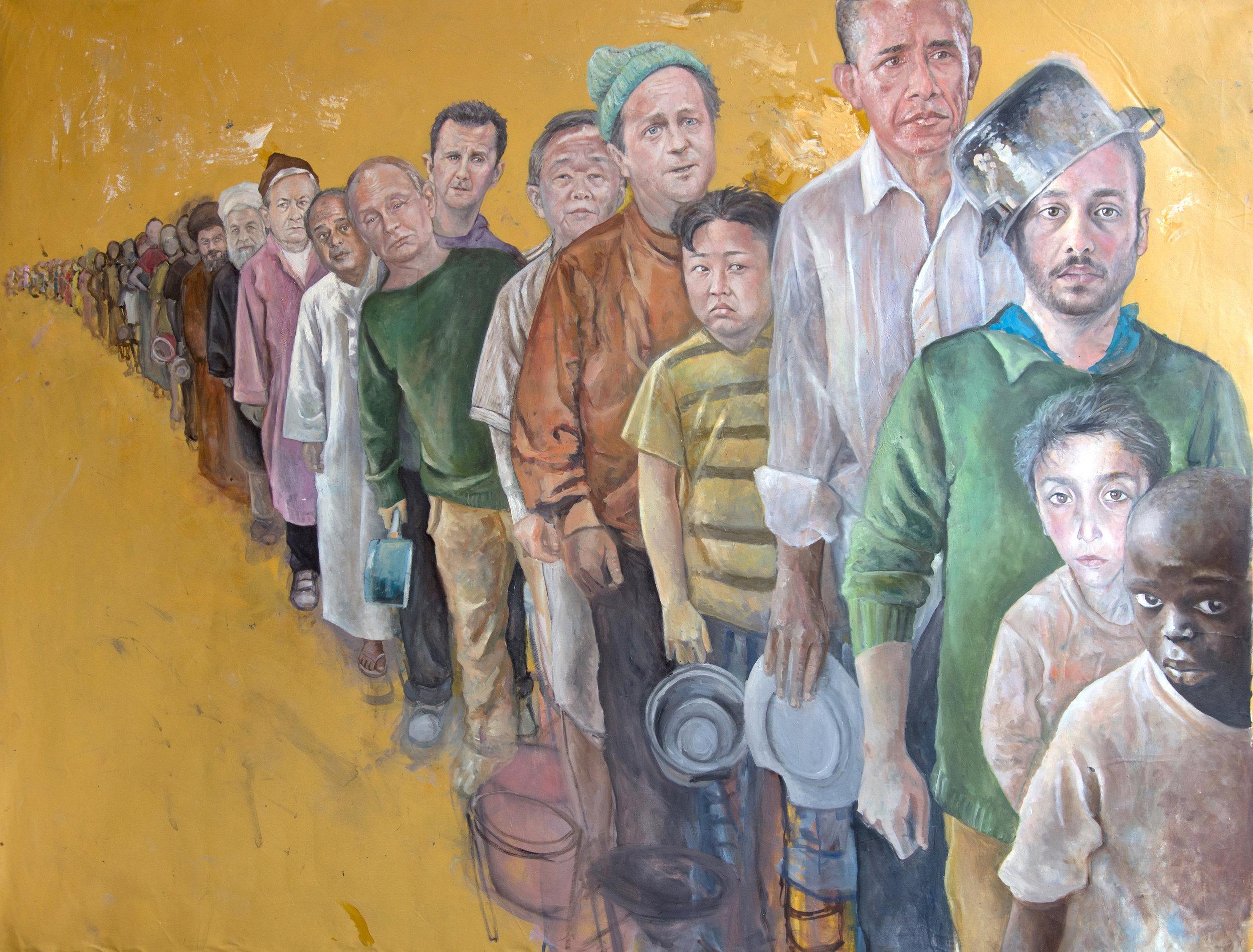 Abdalla Al Omari. The Queue, 2016. Courtesy Ayyam Gallery