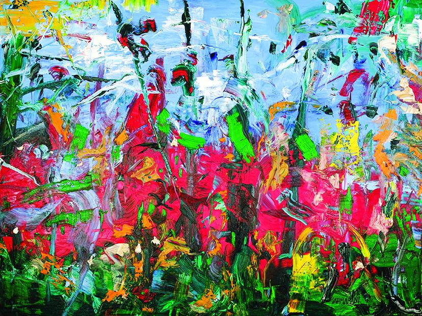 Sahmarani, Marwan. Cinco Cames (2017) Oil on canvas,225 x 300 cm Courtesy of Leila Heller Gallery