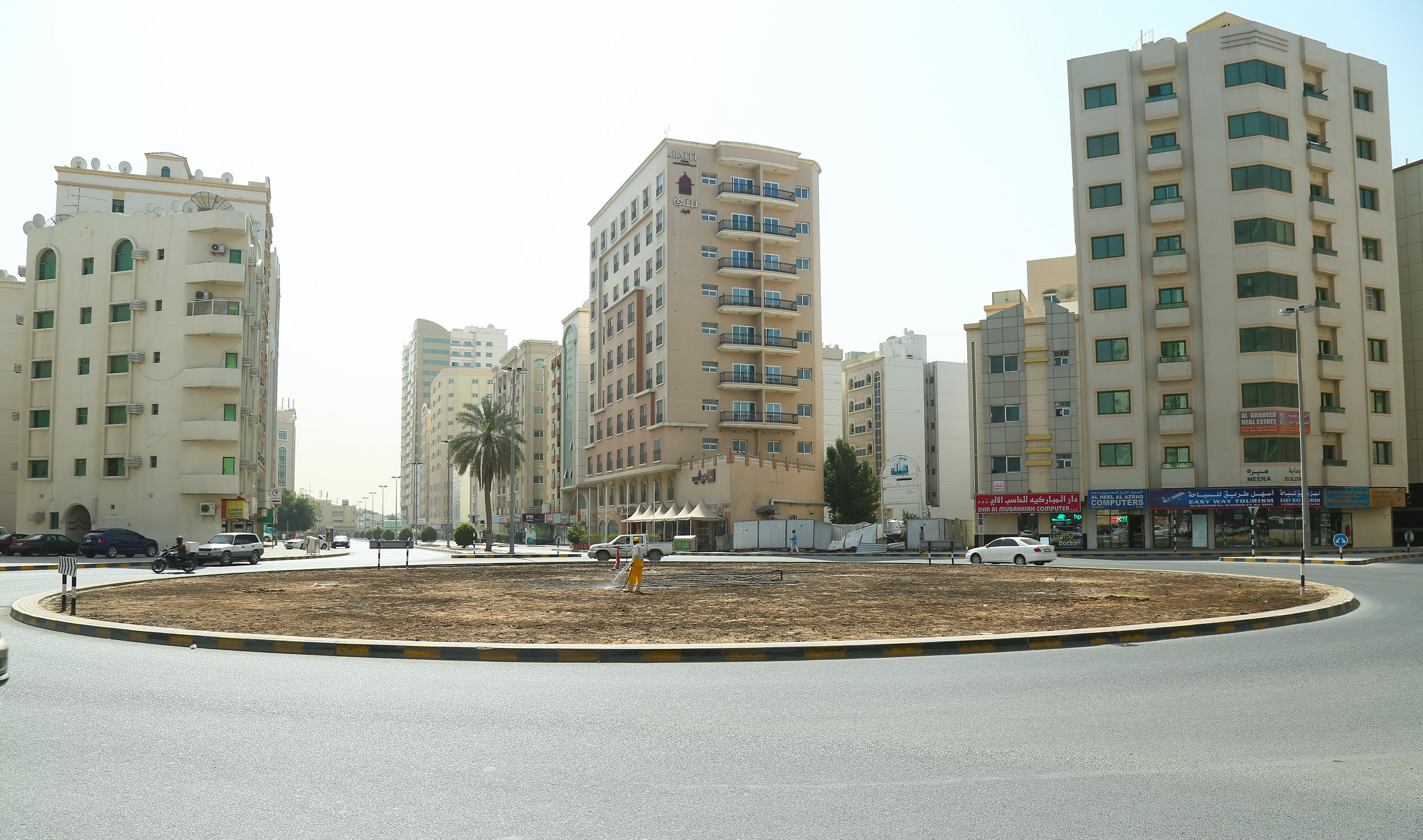 Vikram Divecha, Beej, 2017.Intervention at roundabout in Al Naba'ah area of Sharjah. Installation view, Sharjah Biennial 13, 2017. Unregistered seeds, soil, water and supplies. Commissioned by Sharjah Art Foundation.Courtesy of the artist. Image Courtesy of Sharjah Art Foundation.