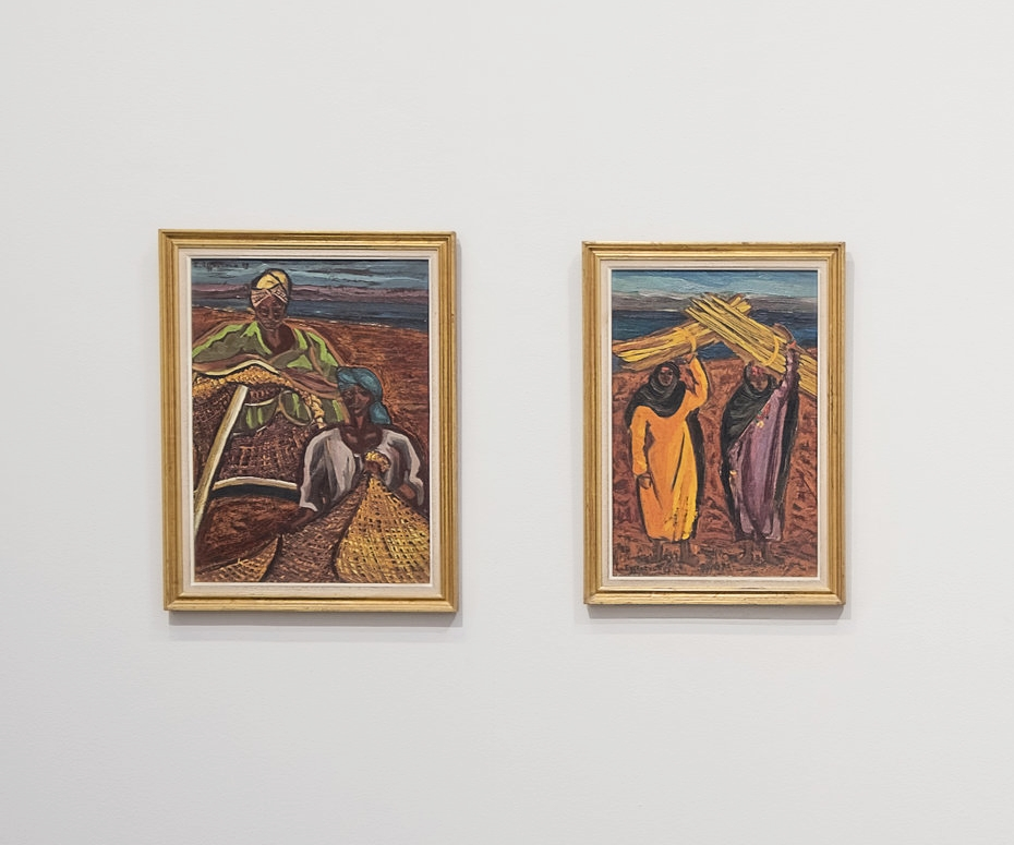 Untitled works by Inji Efflatoun both from 1958, oil on canvas here installed as part of Modernist Women of Egypt exhibition. Courtesy of Green Art Gallery.