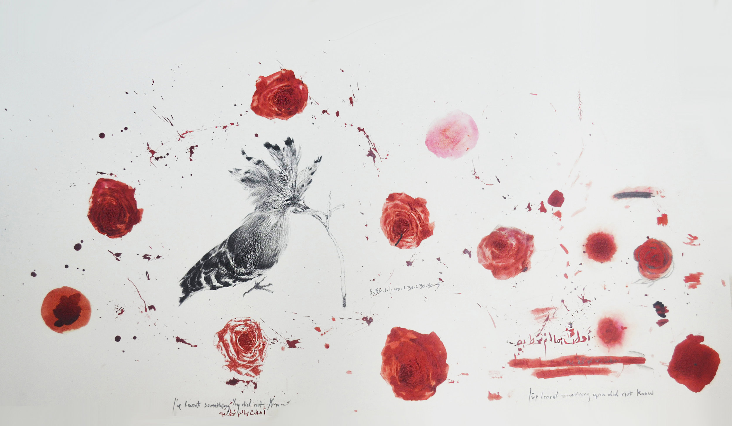 Hanaa Malallah,I Have Learnt Something You Did Not Know,2015, black and red Ink on paper, 60 x 100 cm. Image courtesy of the artist