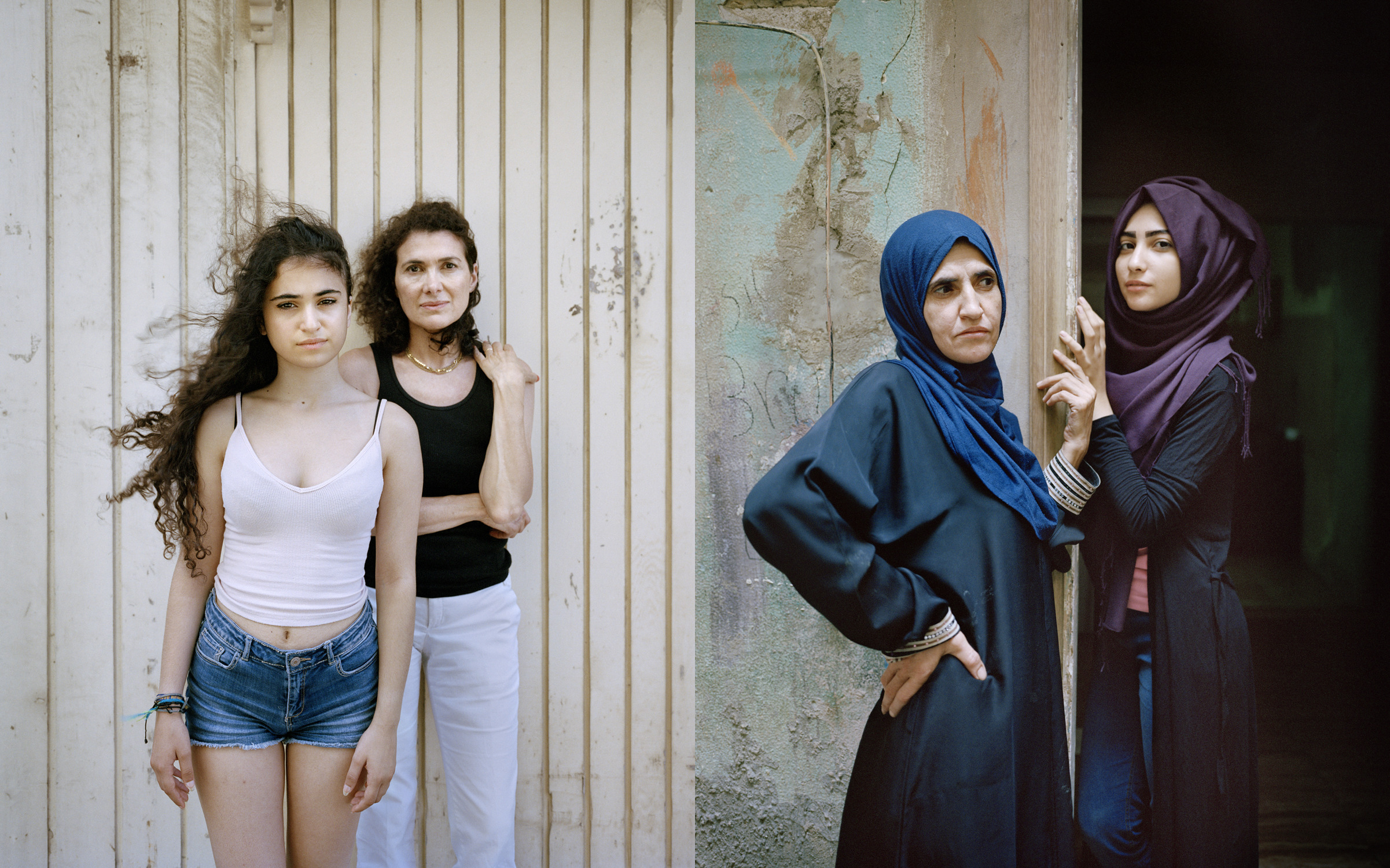 Rania Matar, (L) Jacqueline and Juliette, Beirut, Lebanon and (R) Wafa'a and Samira, Bourj El Barajneh Palestinian Refugee Camp, Beirut, Lebanon. From Unspoken Conversations, 2016. Archival pigment prints mounted on DiBond. 60.9 x 50cm. Image courtesy of the artist