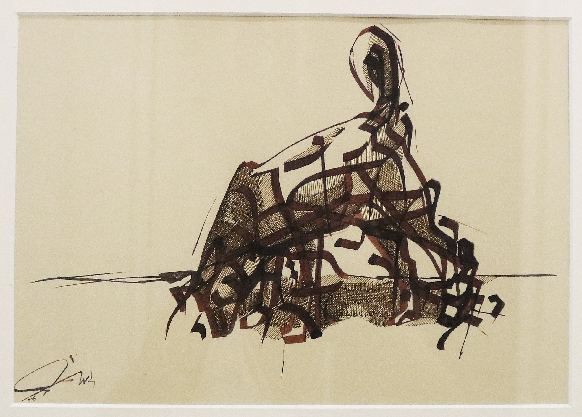 Islam Zaher, Study of a Dog, 35 x 25 cm, Brown ink on coloured paper, 2012. Courtesy of Gypsum Gallery.