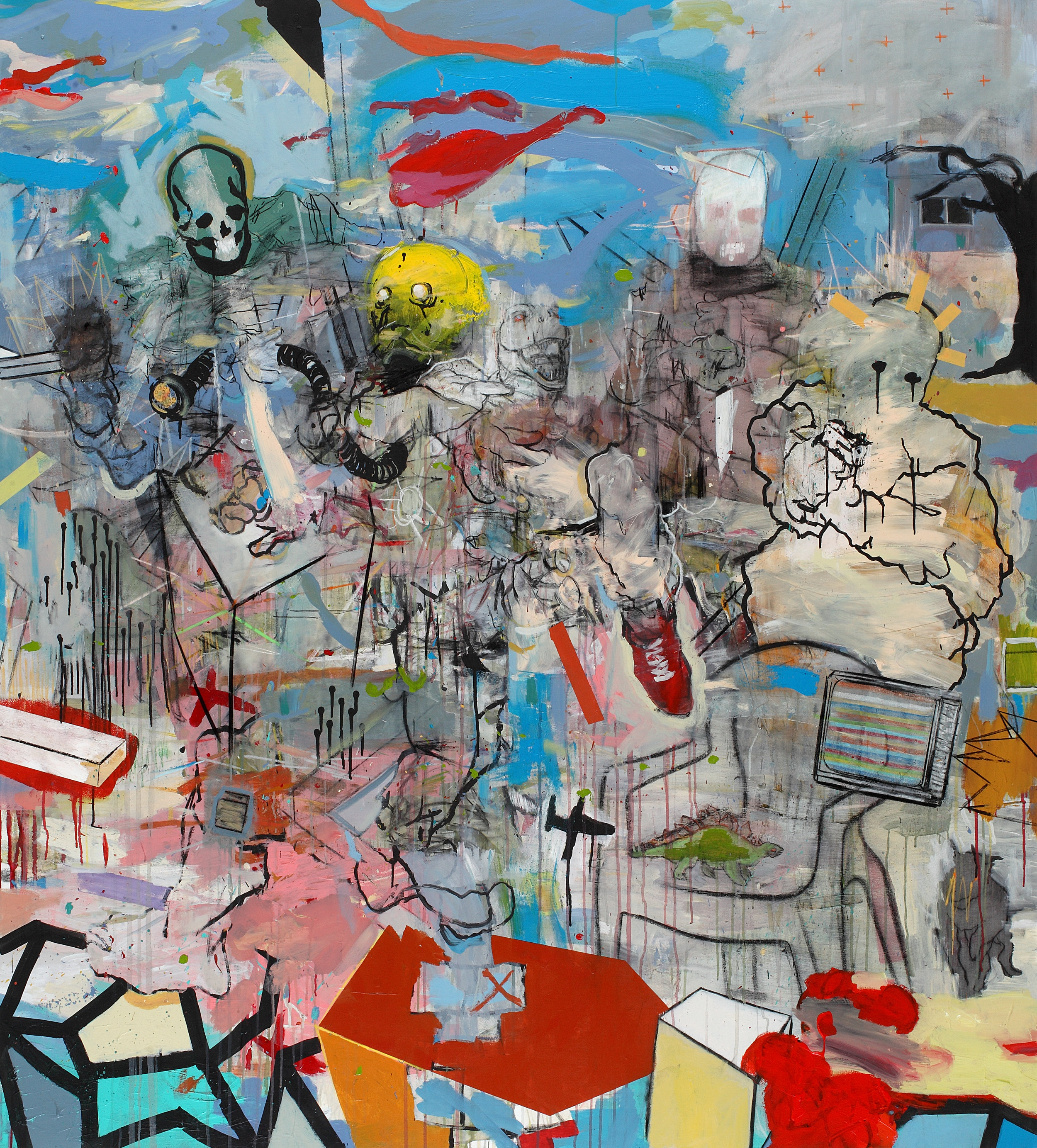 Thameur Mejri. Figures At War, 2017. Mixed media on canvas, 180 x 140cm. Image courtesy of the artist and El Marsa Gallery
