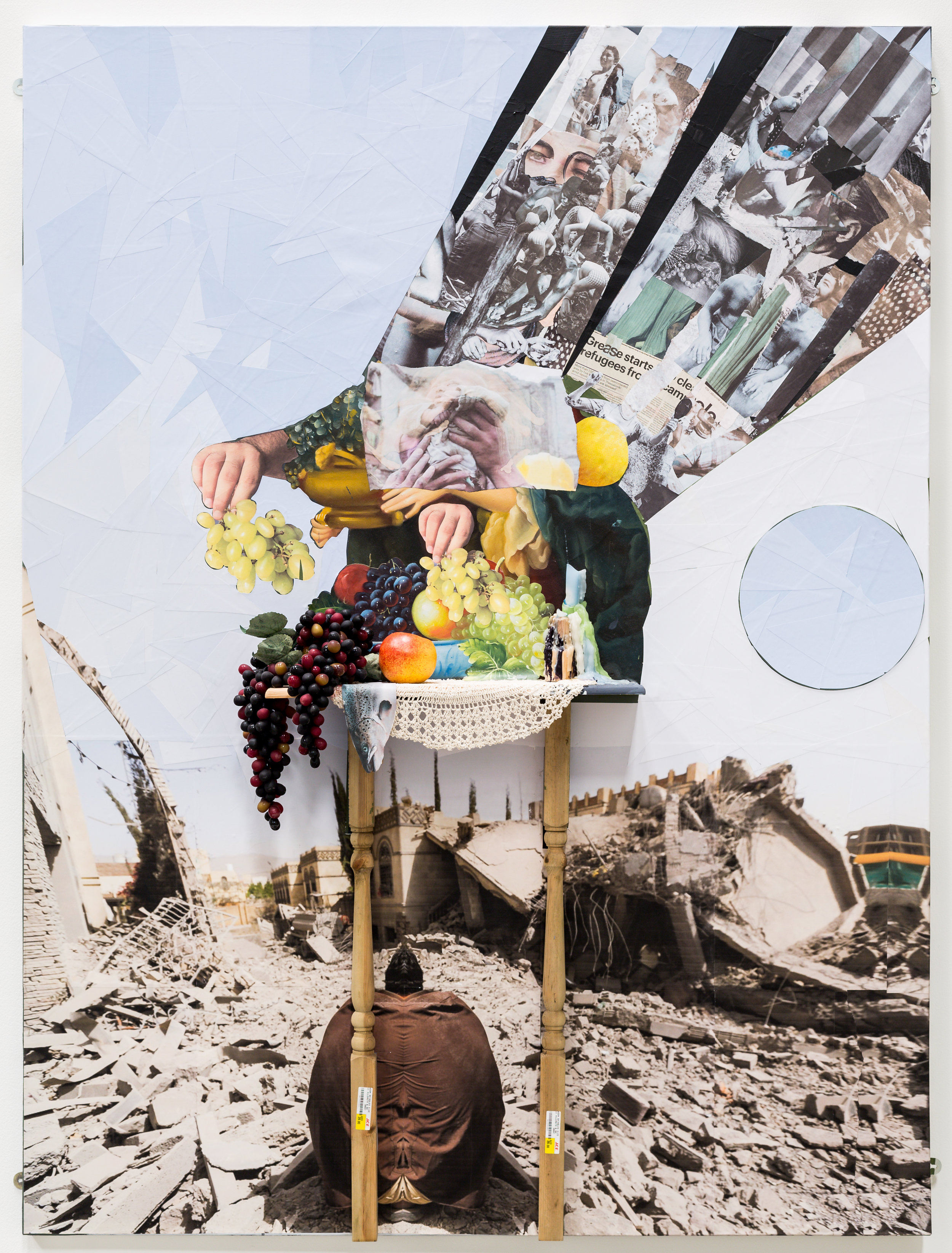 Ramin Haerizadeh.We Choose to Go to the Moon,2009-17.Collage, acrylic wooden console table, crochet, fake fruits, oil painting and candle on canvas.200 x 150 cm. Courtesy of the artist and Gallery Isabelle Van Den Eynde