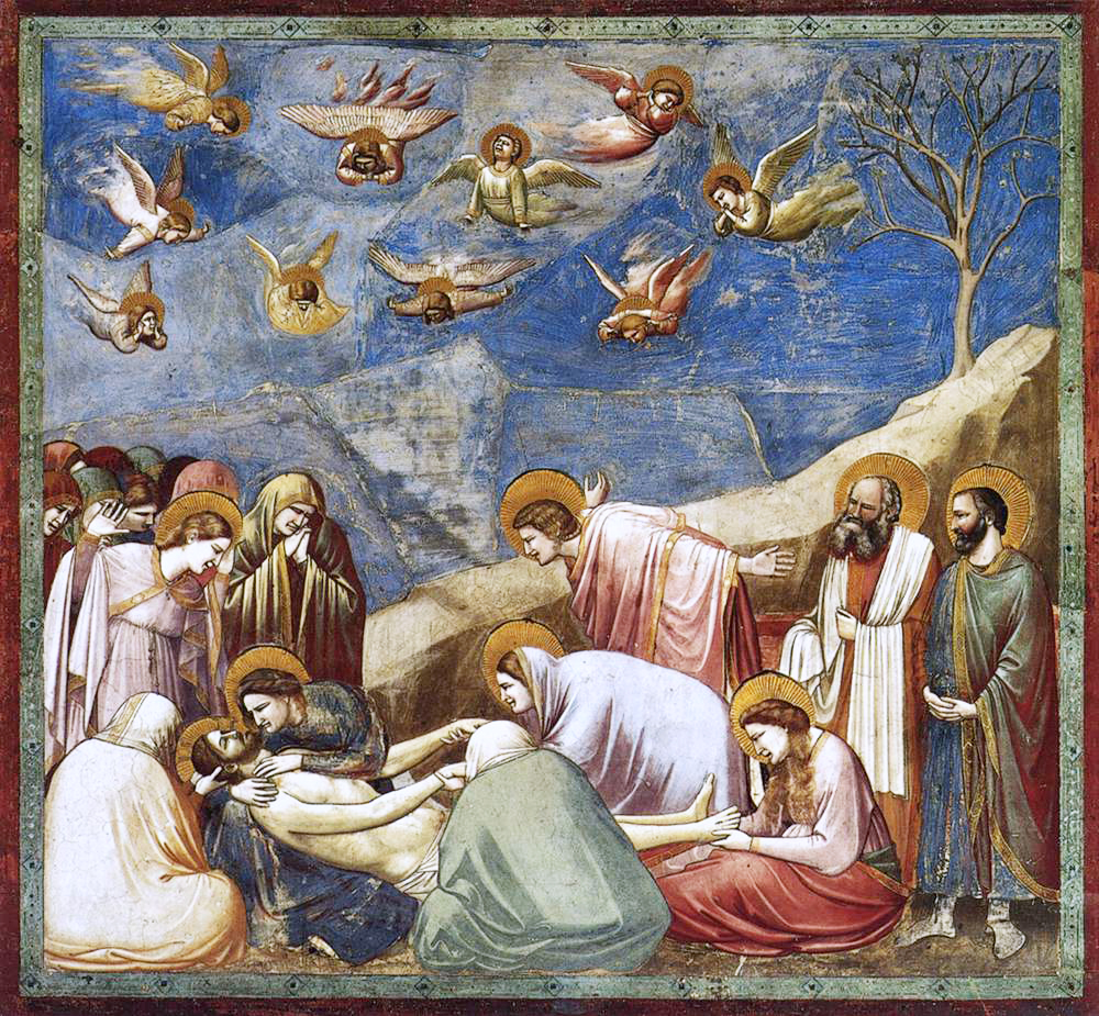 """Lamentation (The Mourning of Christ) by Giotto, an Italian painter and architect from Florence during the Late Middle Ages. He worked during the """"Gothic or Proto-Renaissance"""" period."""