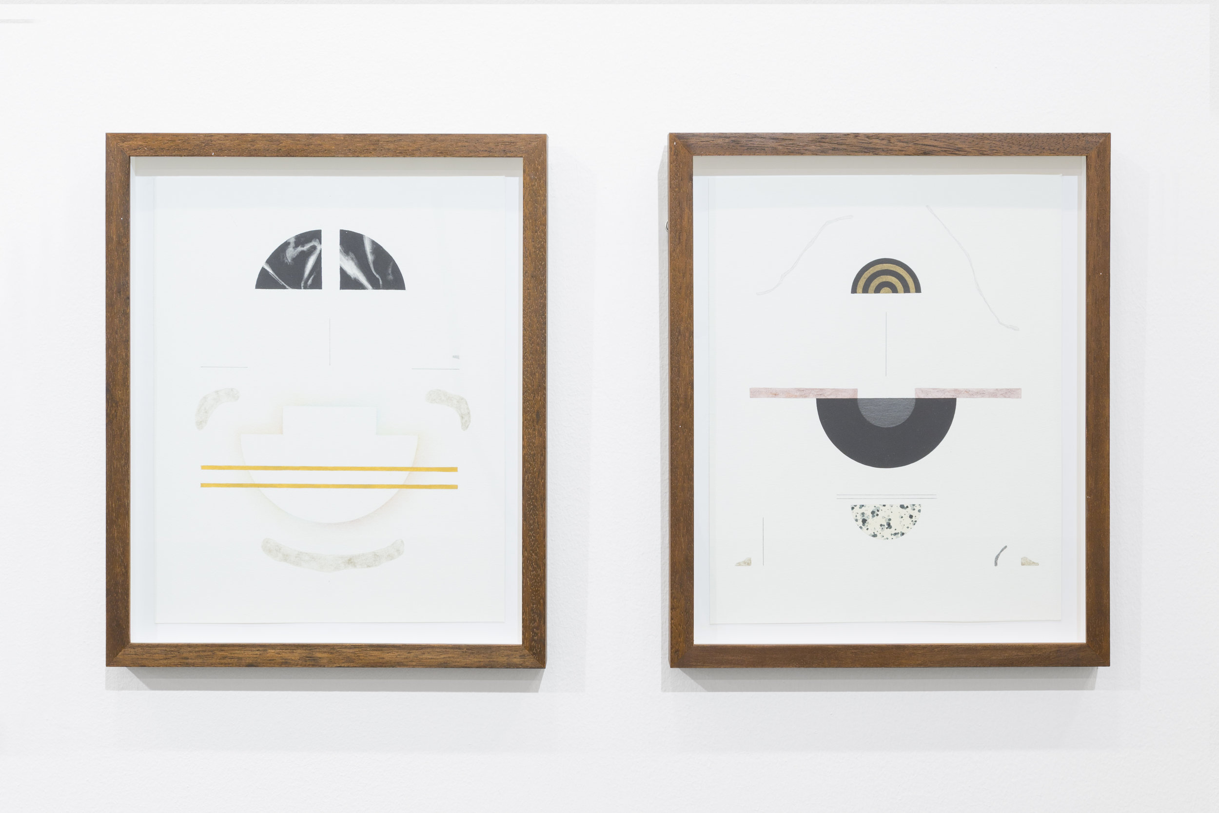 (L-R), Untitled (Order of materials 7), 2017, Mixed media on paper, 38 x 30 cm. Untitled (Order of materials 8), 2017, Mixed media on paper, 38 x 30 cm. Courtesy of artist and Green Art Gallery