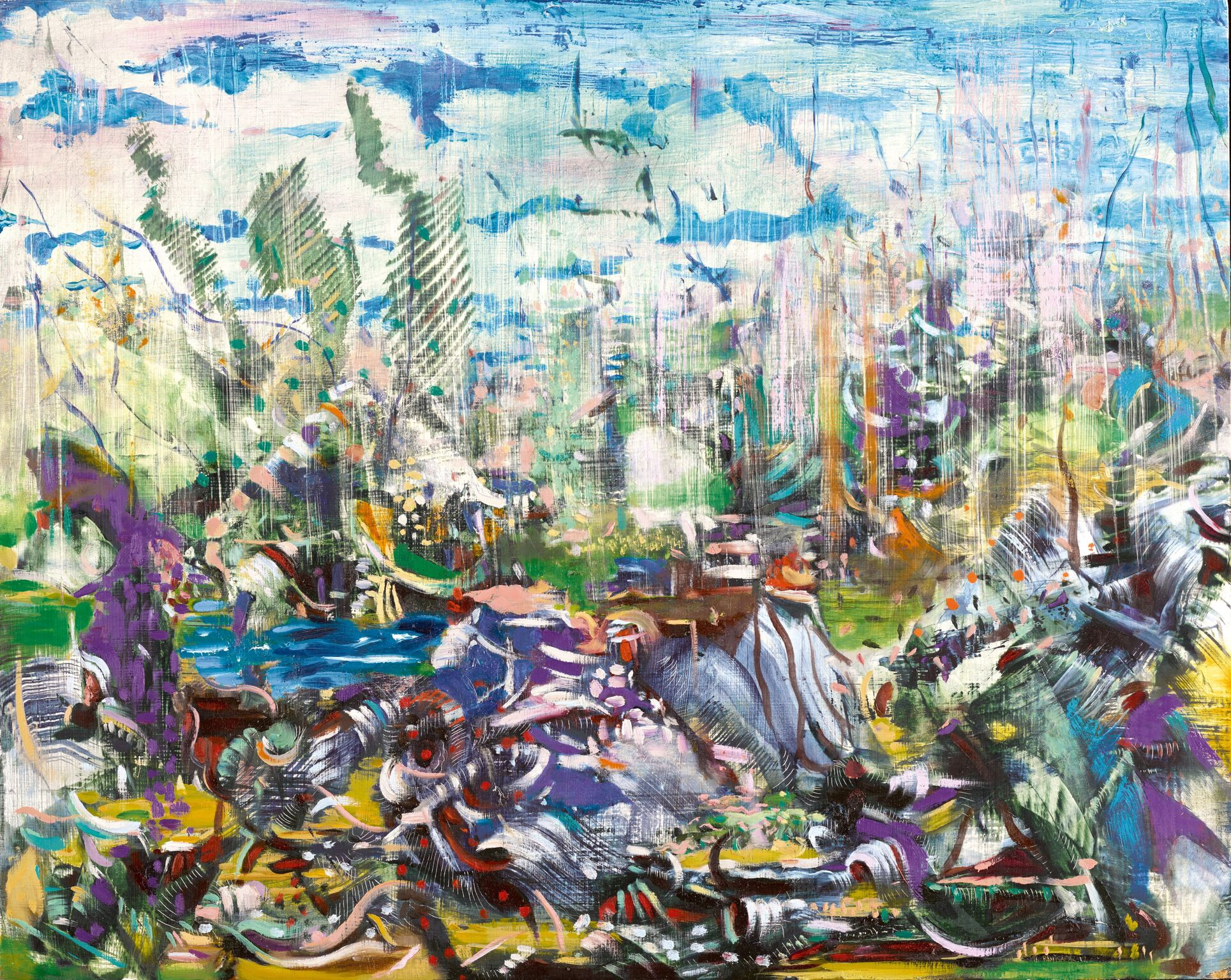 Ali Banisadr, Meanwhile, oil on panel, 2012. Courtesy of Sotheby's