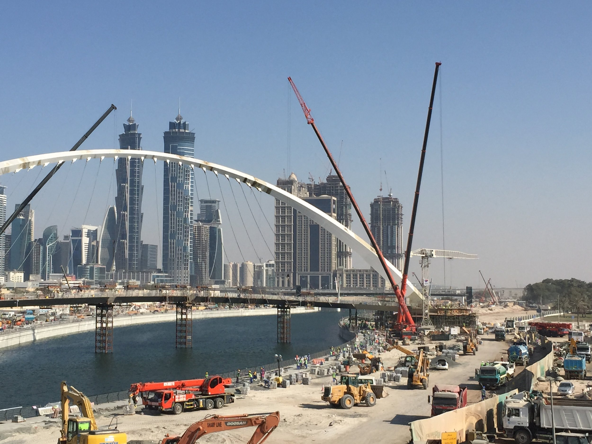 The Dubai Water Canal during its construction stage is just one example of the constantly changing urban environment in Dubai. Courtesy Arch. Season '17.