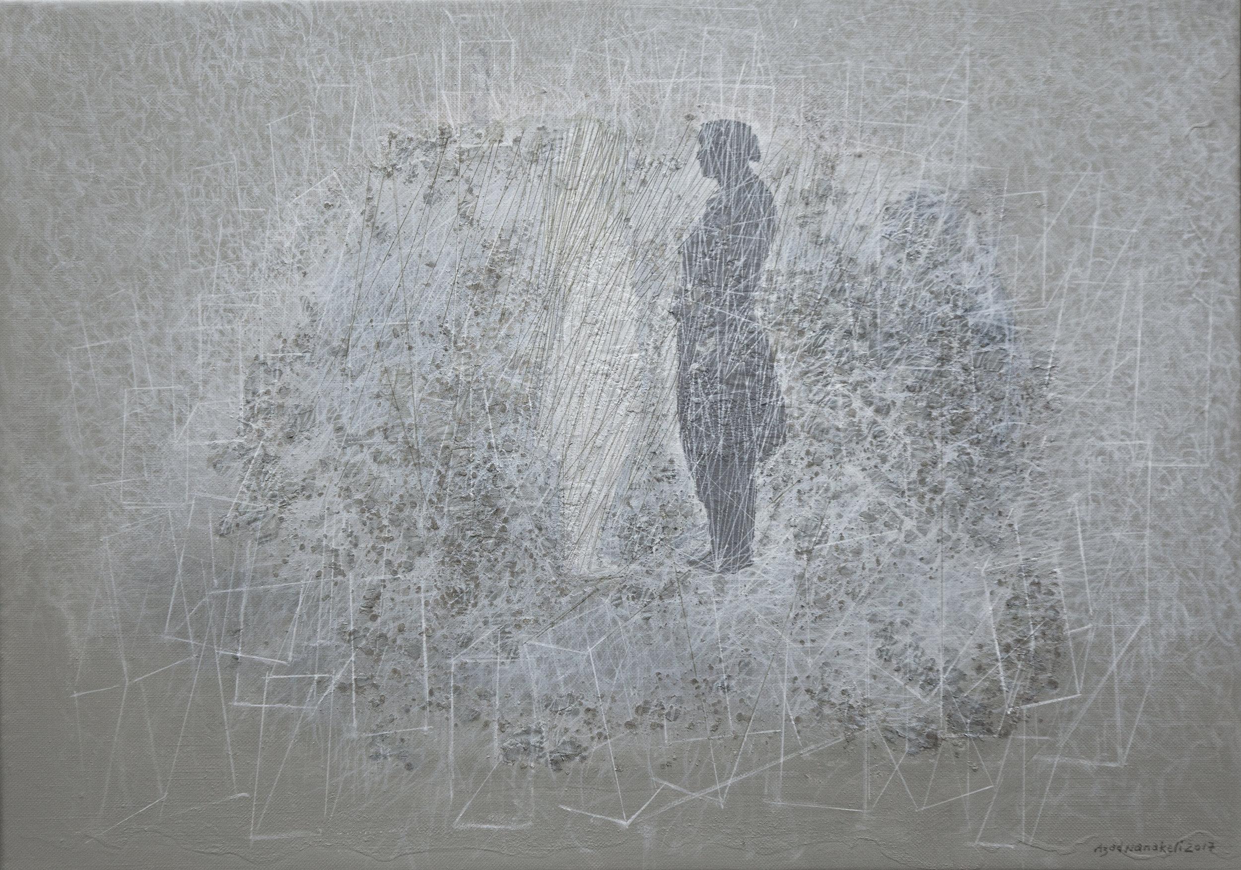 Azad Nanakeli.  The Other World (9) , 2017. Mixed media, acrylic on canvas 50 x 70 cm. Courtesy of the artist and XVA Gallery.