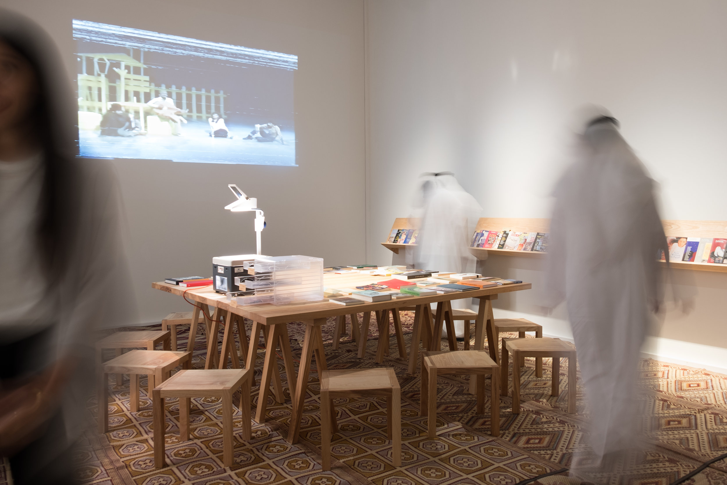 The reading annexe as part of the ongoing Research Studio currently on display at Art Jameel. Image courtesy of Art Jameel.