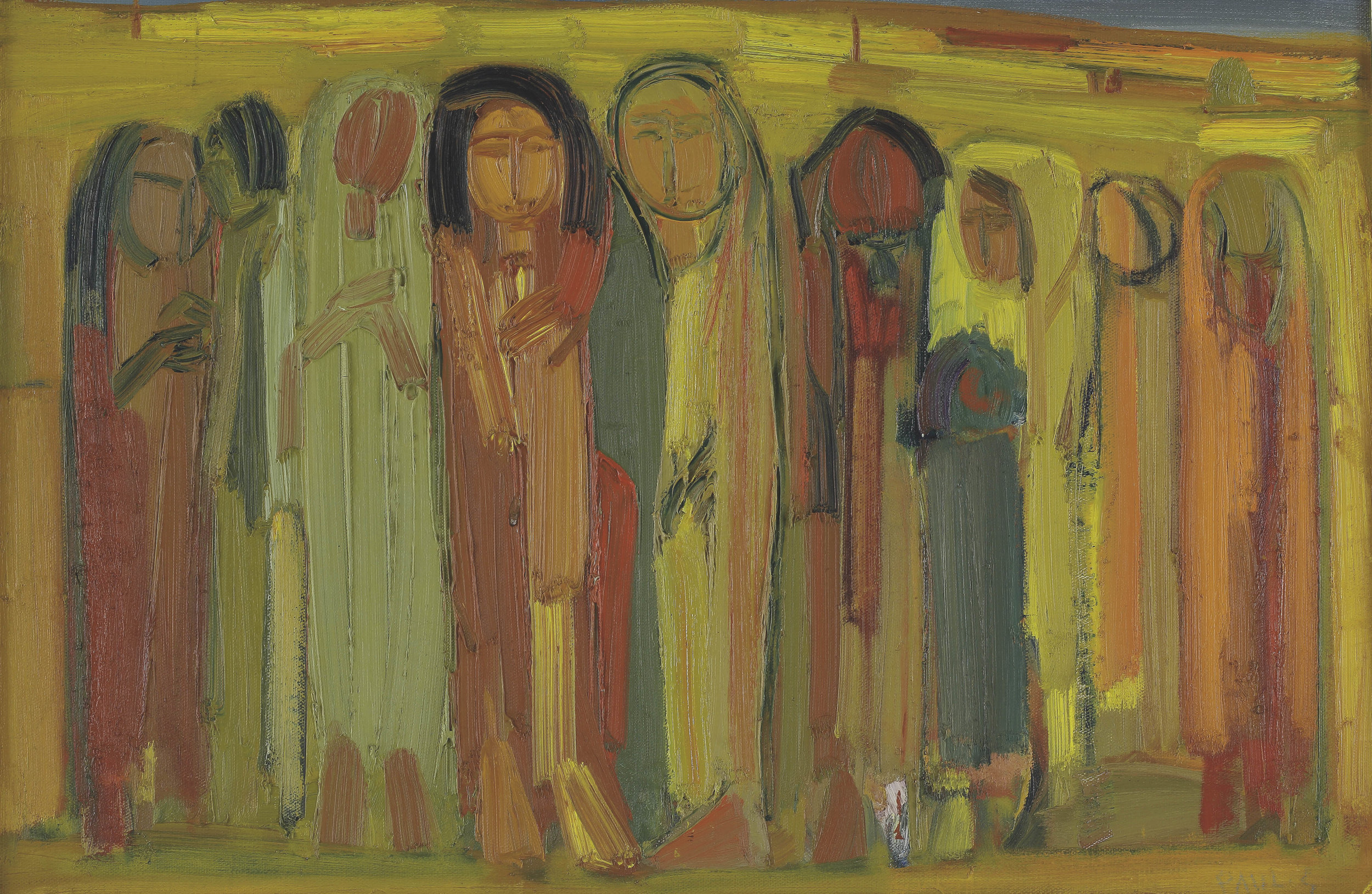 Paul Guiragossian. Figures (c.1965). Oil on canvas.60 x 90 cm. From the collection of Fadi Moussalli. Courtesy of Barjeel Art Foundation.