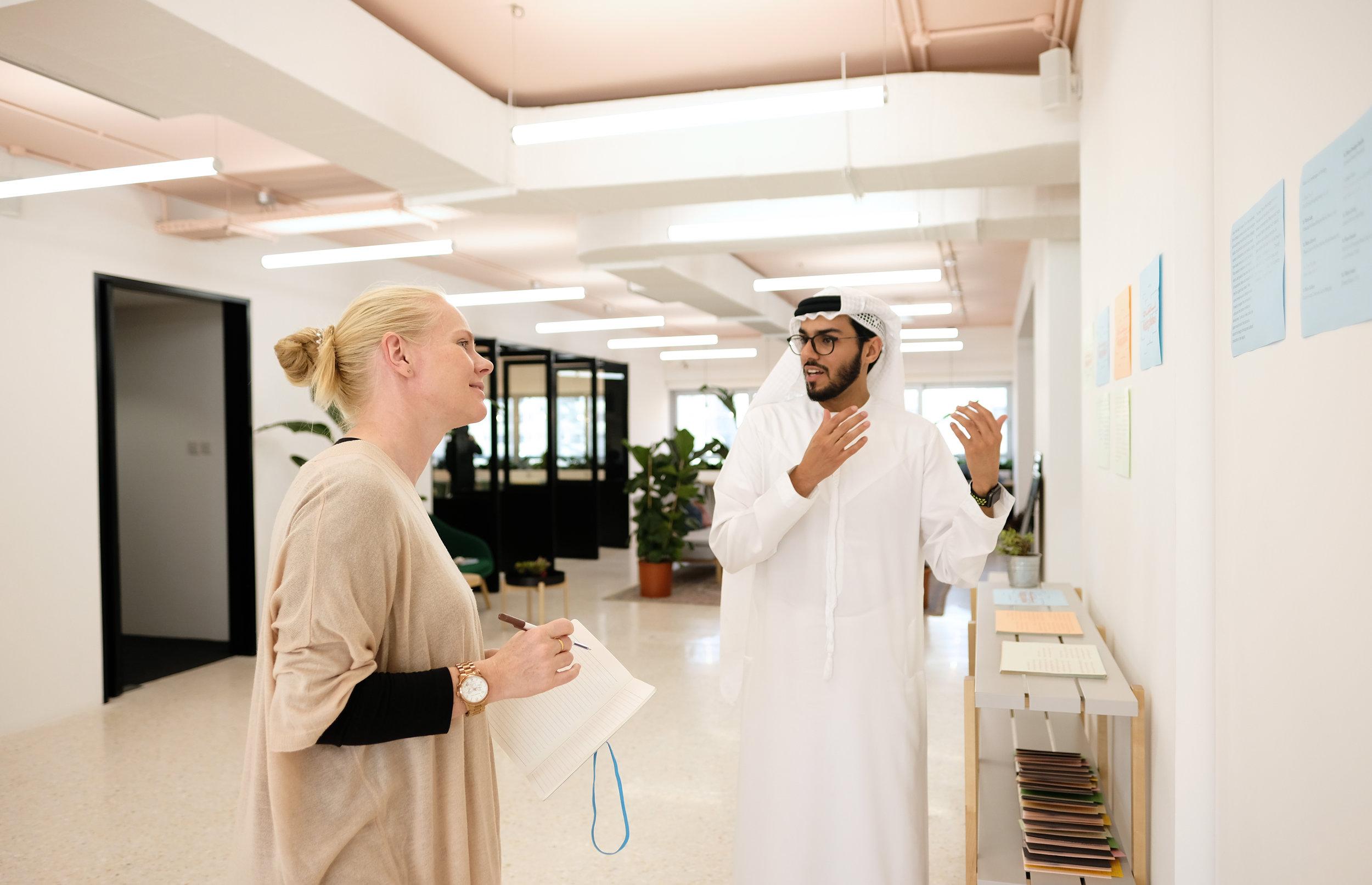 Salem Al Qassimi gives me a tour of Fikra Campus. Image courtesy of Fikra Design Studio