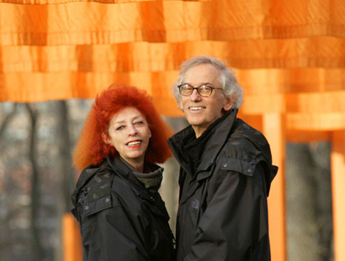 New York City, 2005.Christo and Jeanne-Claude at The Gates. Photo: Wolfgang Volz © 2005 Christo