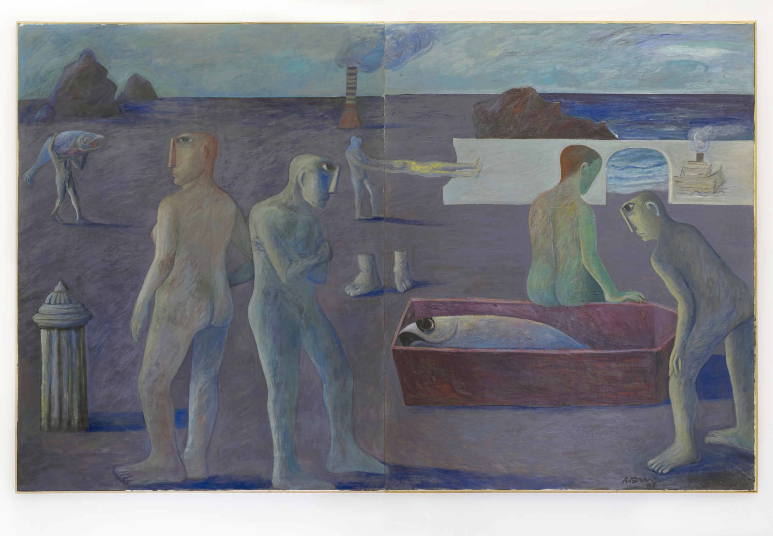 Ahmed Morsi, Untitled (Seaside Diptych), 1987, Acrylic on canvas, 360 x 135 cm. Image courtesy of the artist and Gypsum Gallery